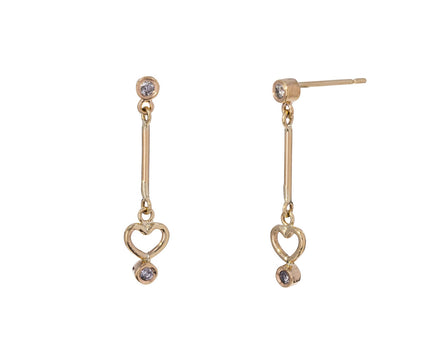 Gray Diamond Heart Dot Dot Earrings - TWISTonline