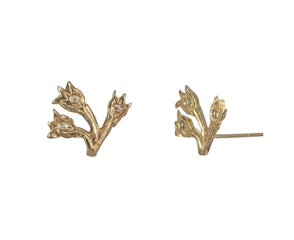 Flower Trio Earrings with Diamonds - TWISTonline