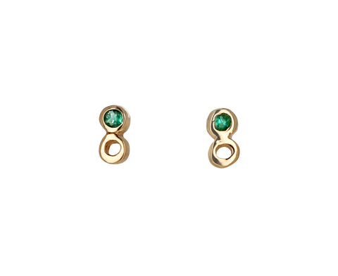 Emerald Open Dot Dot Stud Earrings
