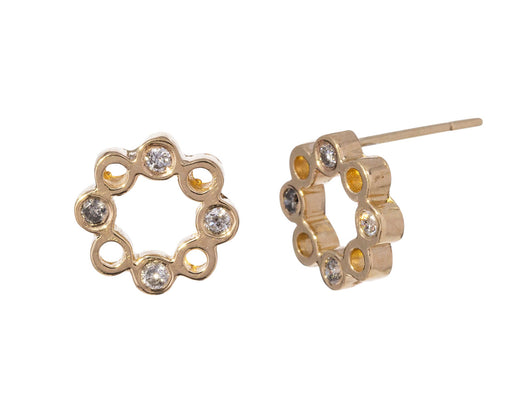 Gray Diamond Dot Dot Circle Earrings - TWISTonline