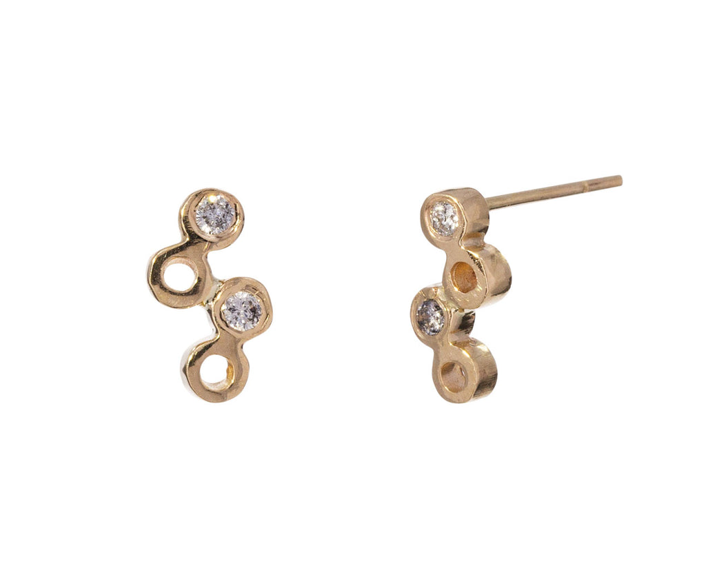 Gray Diamond Dot Dot Stud Earrings