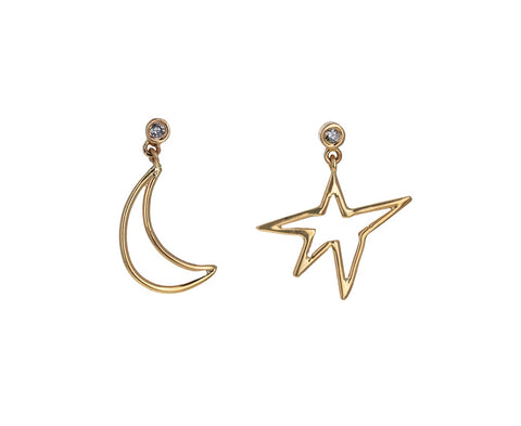 Diamond Star and Moon Dangle Earrings