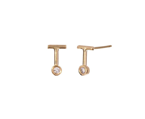 Gray Diamond Dot Dot Bar Earrings - TWISTonline