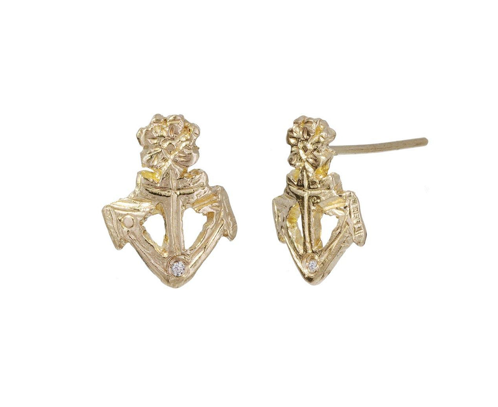 Anchor and Flower Stud Earrings zoom 1_xiao_wang_gold_diamond_anchor_flower_earrings