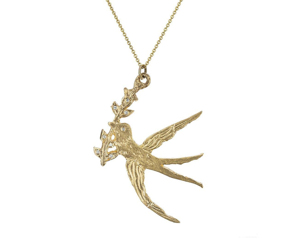 Peace Dove Pendant Necklace with Diamonds zoom 1_xiao_wang_ice_cream_candy_gold_diamond_peace_dov
