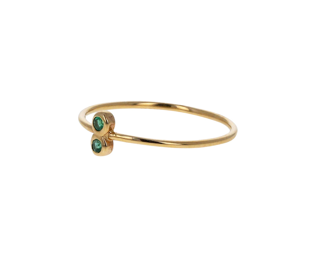 Double Emerald Dot Dot Ring