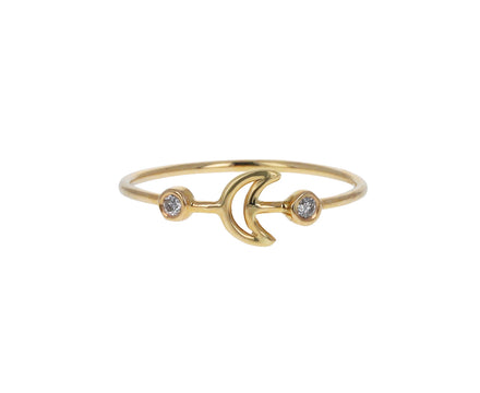 Crescent Diamond Dot Dot Ring
