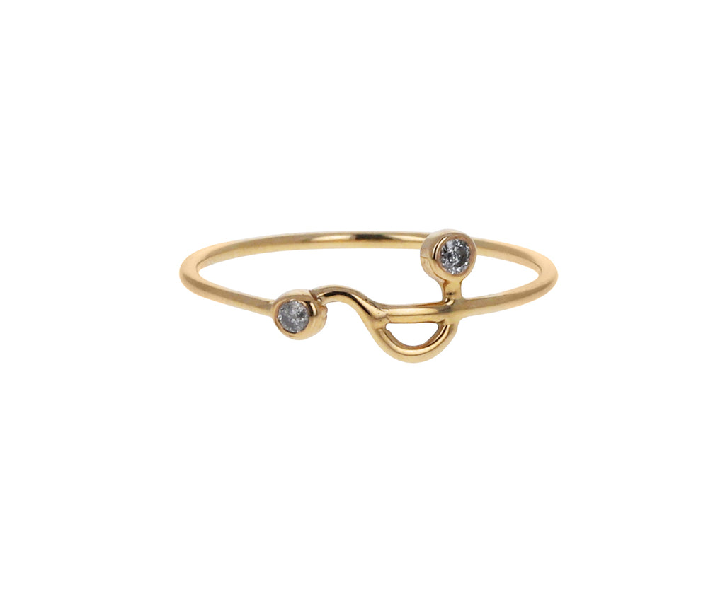 Gray Diamond Squiggle Dot Dot Ring