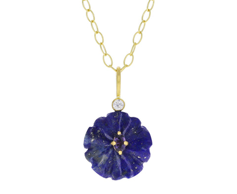 Lapis and Purple Sapphire Jeweled Flower Charm Pendant ONLY