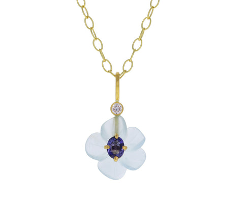 Aquamarine and Purple Sapphire Jeweled Flower Charm Pendant ONLY