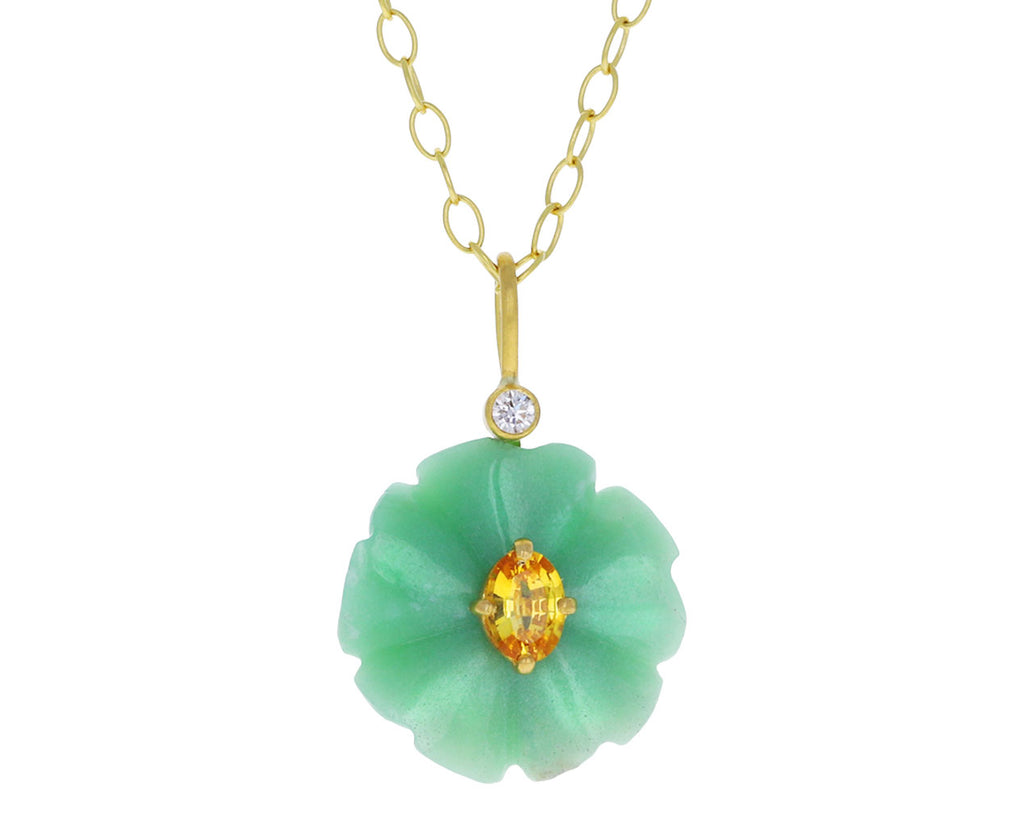 Chrysoprase and Yellow Sapphire Jeweled Flower Charm Pendant ONLY