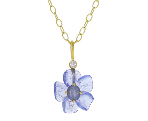 Tanzanite and Star Sapphire Jeweled Flower Charm Pendant ONLY