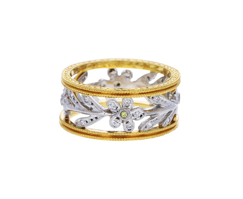 Cathy Waterman Gold and Platinum Double Milgrain Diamond Flower Vine Band