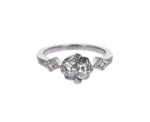Rustic Rose Cut Diamond Antique Prong Solitaire