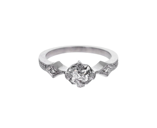 Rosecut Diamond Antique Prong Solitaire Ring