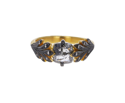 Black and White Rustic Diamond Leafside Ring