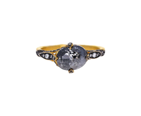 Dark Black and White Diamond Petal Side Ring