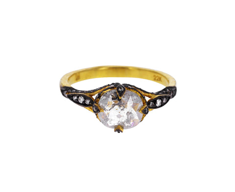 Oval Rustic Diamond Petal Side Ring