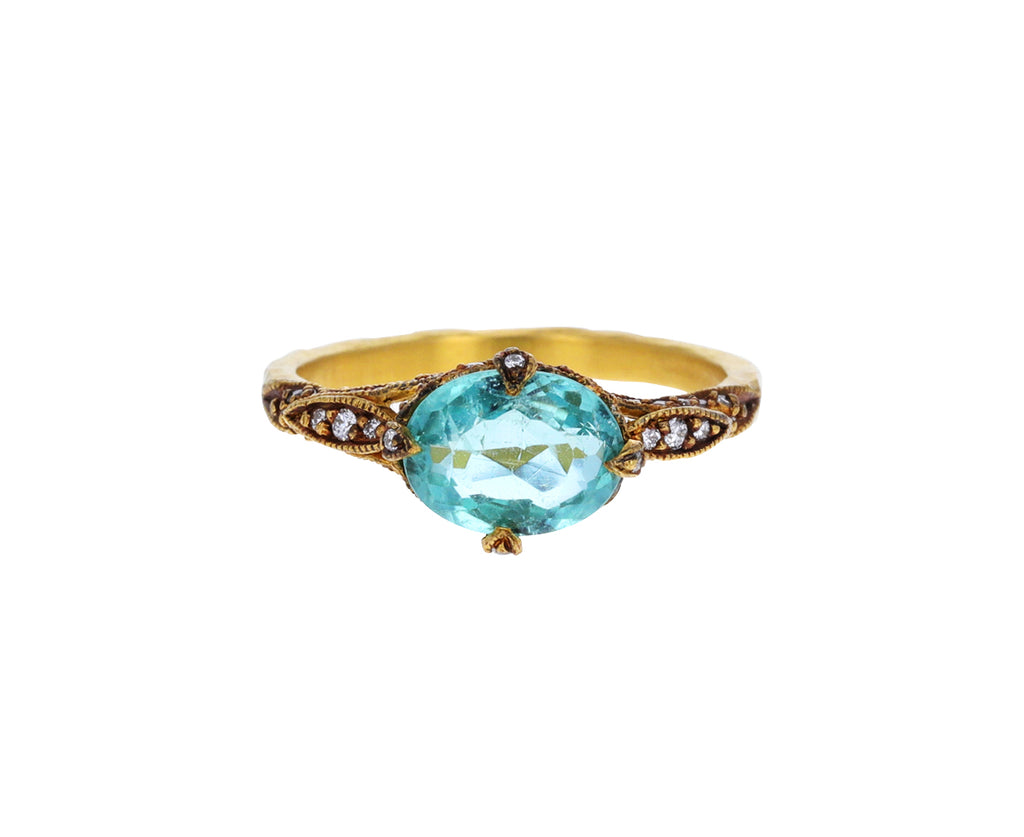 Blue Green Tourmaline Petal Side Ring