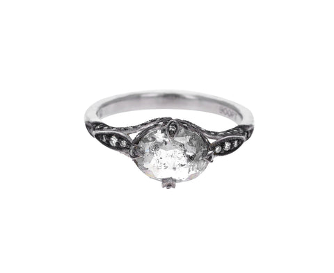 Black and White Diamond Petal Side Ring