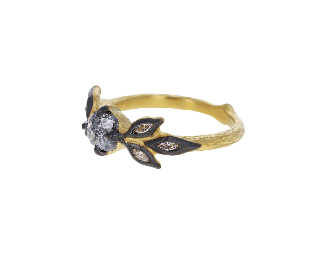 Rustic Diamond Marquise Leaf Ring