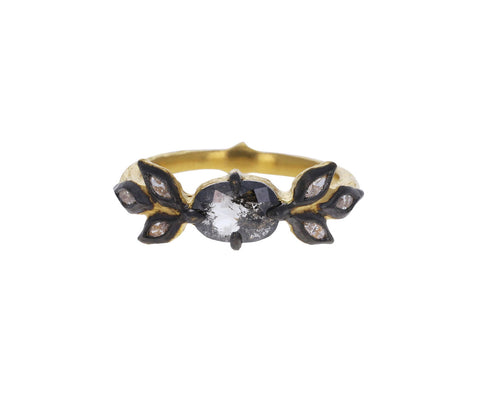 Black and White Rustic Diamond Marquise Leaf Ring