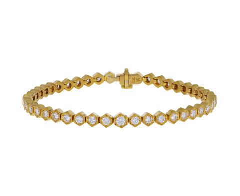 Hexagonal Bezel Diamond Tennis Bracelet