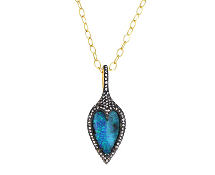 Small Boulder Opal and Diamond Jeweled Thorn Pendant ONLY