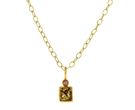 Cognac and Rustic Diamond Charm Pendant ONLY