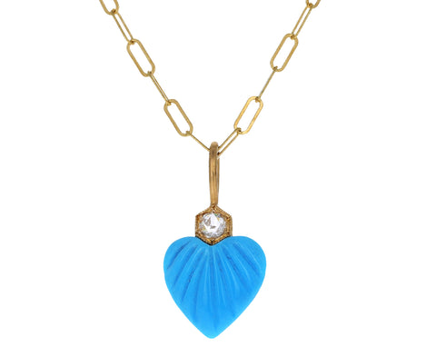 Small Turquoise Heart and Diamond Charm Pendant ONLY
