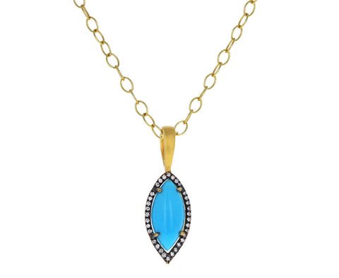 Turquoise Marquise Frame Charm Pendant ONLY
