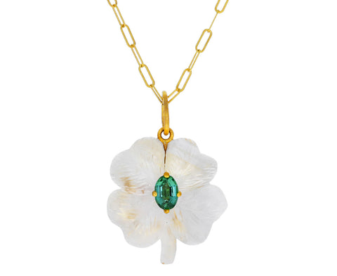 Cathy Waterman Citrine and Tourmaline Clover Charm Pendant ONLY