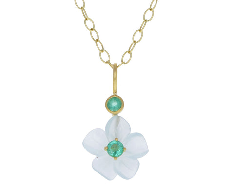 Aquamarine and Emerald Jeweled Flower Charm