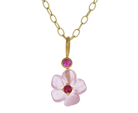 Rose Quartz and Ruby Jeweled Flower Charm ONLY