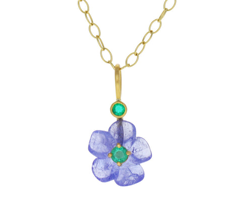 Tanzanite and Emerald Jeweled Flower Charm ONLY
