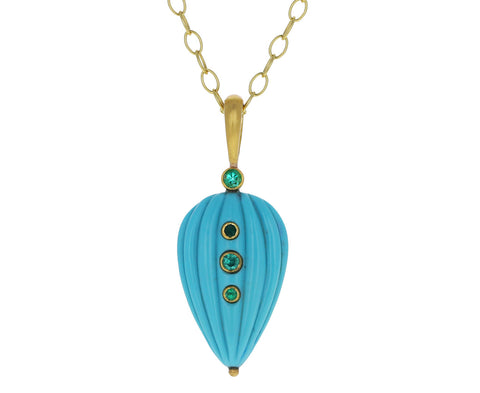 Carved Turquoise Drop with Emeralds Charm ONLY