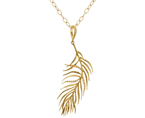 Gold Diamond Feather Pendant - TWISTonline