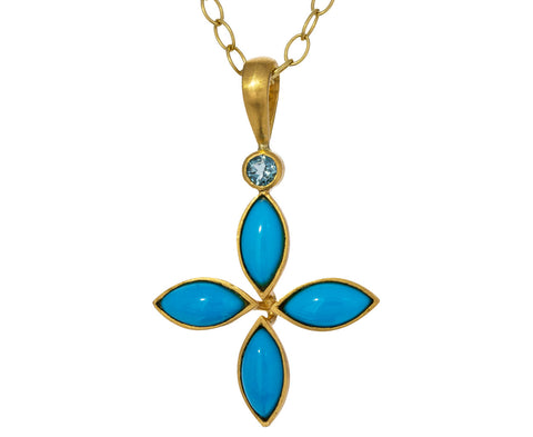 Turquoise and Blue Tourmaline Floating Star Pendant ONLY - TWISTonline