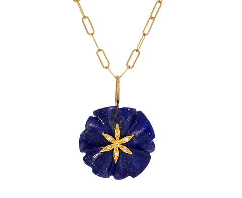 Lapis Flower Star Charm Pendant ONLY