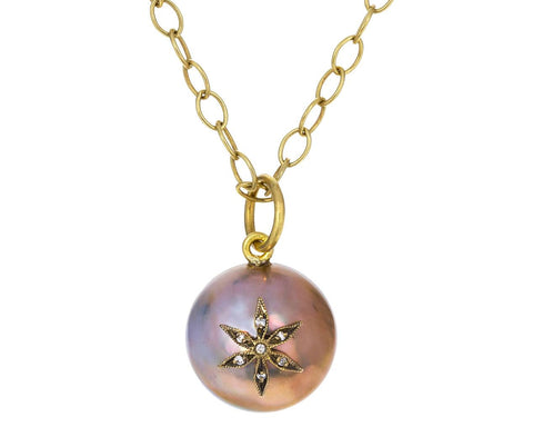 Mabé Pearl and Diamond Star Charm Pendant ONLY zoom 1_cathy_waterman_gold_pearl_blackened_star_charm3