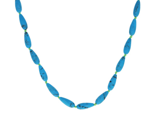 Turquoise Teardrop Bead Necklace