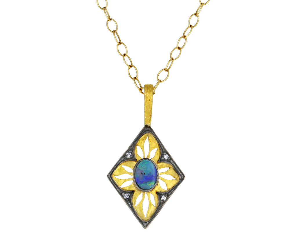 Boulder Opal and Diamond Window Pendant ONLY