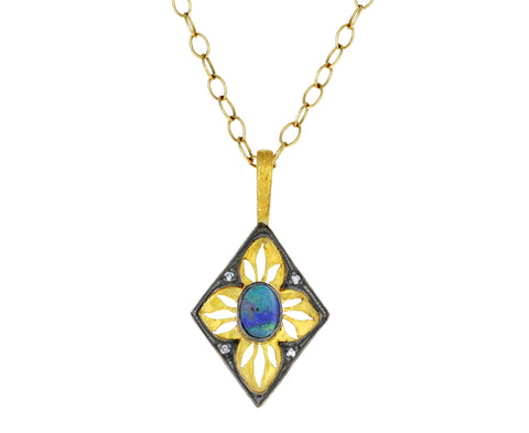 Boulder Opal and Diamond Window Pendant ONLY - TWISTonline