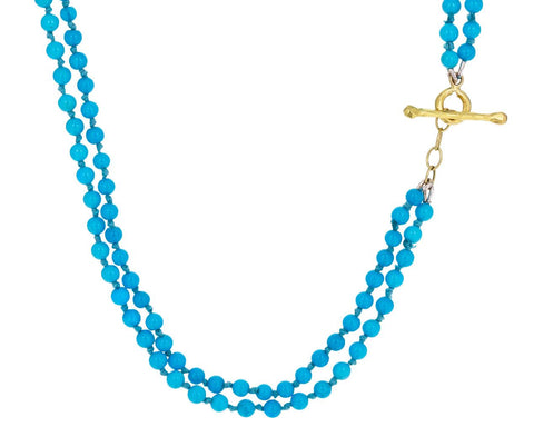 Turquoise Bead Double Strand Necklace zoom 1_cathy_waterman_gold_turquoise_double_strand_neck