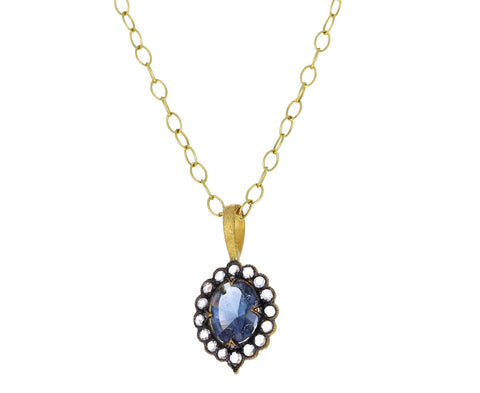 Blue Tourmaline Diamond Lace Edged Charm Pendant ONLY