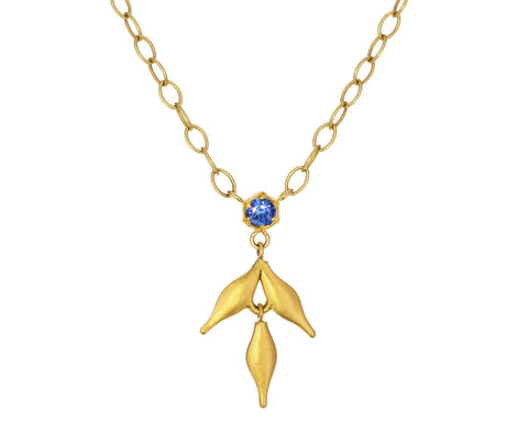Blue Sapphire Flexible Wheat Pendant Necklace - TWISTonline