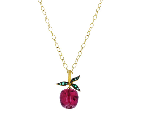 Rubellite Apple Charm Pendant ONLY