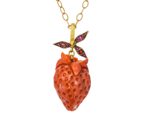 Vintage Coral Strawberry and Ruby Leaf Pendant ONLY zoom 1_cathy_waterman_gold_ruby_coral_strawberry_pendan