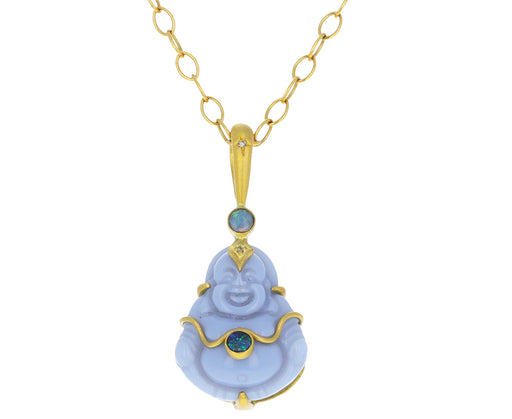 Blue Opal Buddha Charm Pendant ONLY