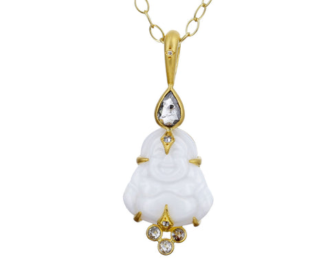 White Opal and Diamond Buddha Pendant ONLY